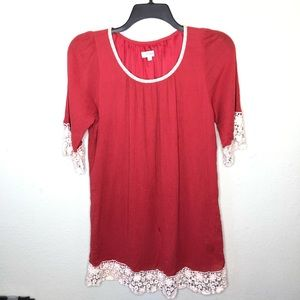 Umgee Persimmon Dress with Lace Details Large